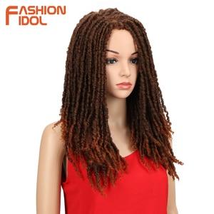 Image 4 - FASHION IDOL 22 Inch Synthetic Wigs For Black Women Crochet Braids Twist Jumbo Dread Faux Locs Hairstyle Long Afro Brown Hair