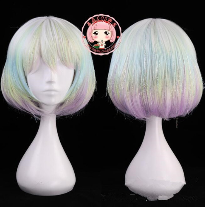 Diamond Cosplay Headwear Land of the Lustrous Anime Cosplay Headwear Colorful Short  Hair cosplay wig A580
