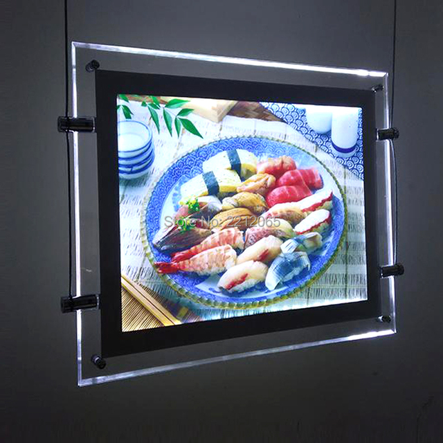 (1Units/Lot) A3 Single Sided Cable Hanging Led Window Poster Frame,Signage Display Systems for Real Estate,Property Agents