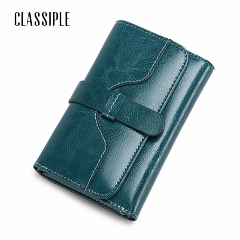 2018 Fashion Bag Wallet Ladies Cow Split Leather Women Short Wallets Blue Female Handbag Money Coin