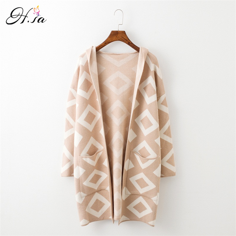 H.SA New Long Cardigan Sweater Coat for Women Casual Hooded Poncho Sweater Cardigans Geomertric Print Winter Warm Sweater Coat