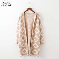 New Brand Long Cardigan Sweater Coat For Women Casual Hooded Poncho Sweater Cardigans Geomertric Print Winter