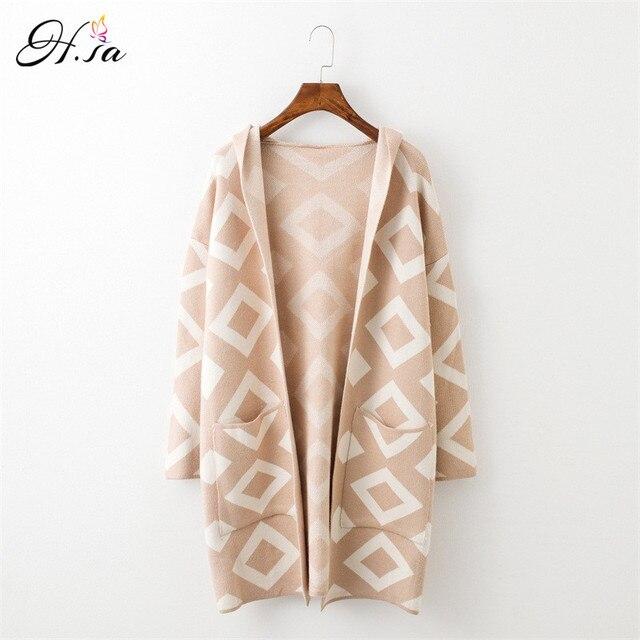 H. sa новый длинный кардиган свитер пальто для Для женщин Повседневное Hooded Poncho Sweater Кардиганы для женщин geomertric печати зима теплый свитер пальто