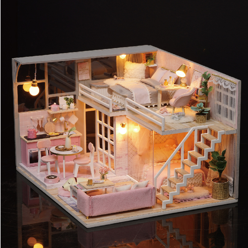 CUTE ROOM DIY miniature House Wooden Doll house Furniture Dust Cover Dollhouse Kit House Model Toys For Children Christmas Gift in Doll Houses from Toys Hobbies