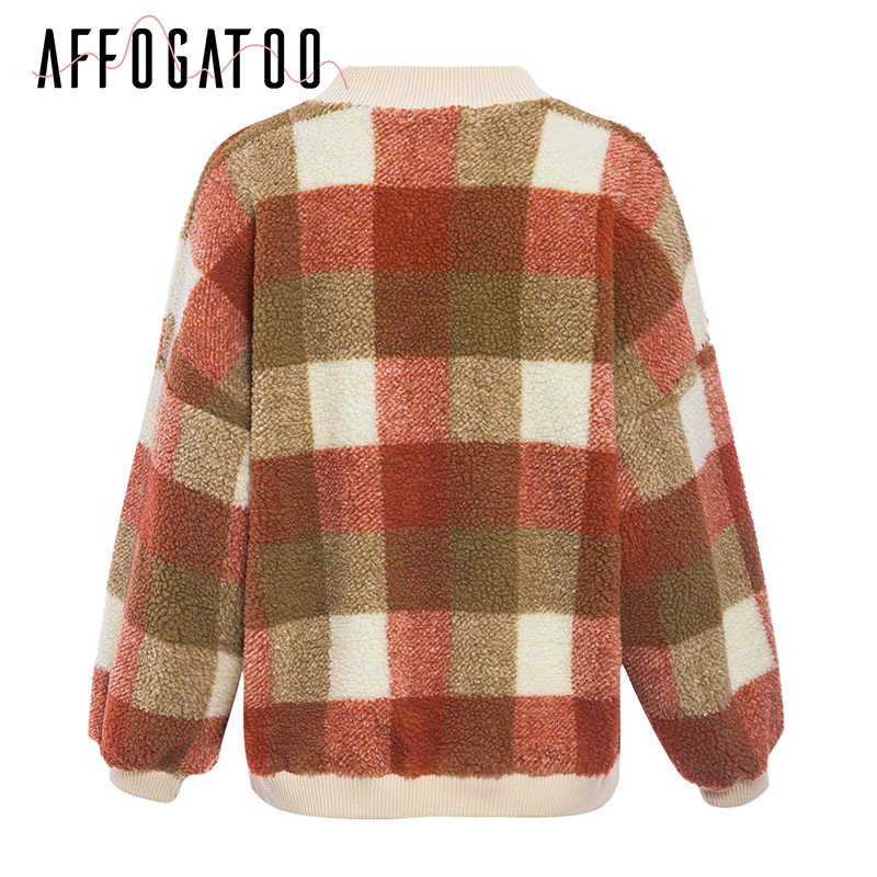 Affogatoo Casual O neck plaid lambswool hoodies sweatshirt women Vintage loose pullover sweatshirt Autumn winter ladies coats 7