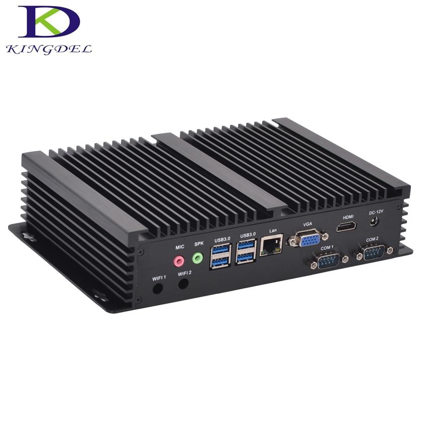 Fanless Industrial Mini PC Windows 10 Rugged ITX Aluminum Case Intel Core i3 5005u HTPC TV Box RS232 WiFi USB VGA Thin Client PC