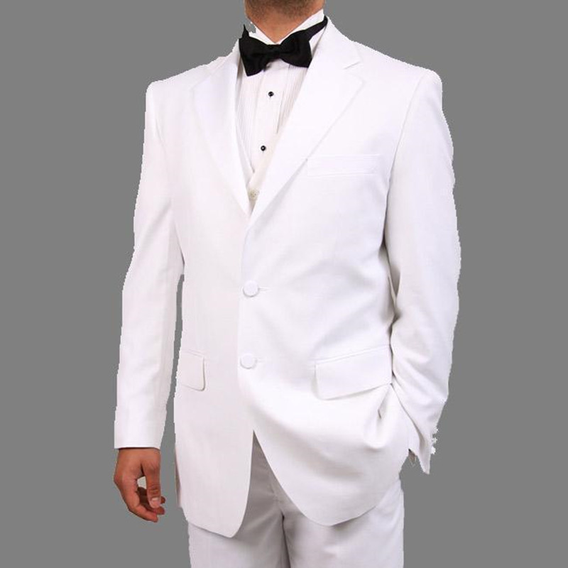254 New Arrival White Mens Suits For Wedding Notched Lapel Grooms Tuxedos Three Piece Mens Suits Slim Fit Groomsmen Suit