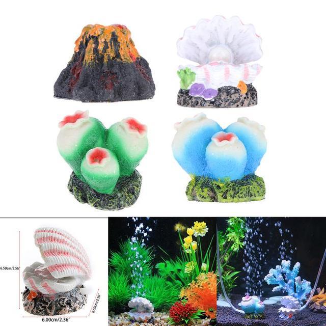 Aquarium Fish Tank Decor Oxygen Pump Air Bubble Air Pump Drive Ornament Coral Shell Volcano Fish Aquarium Decorations