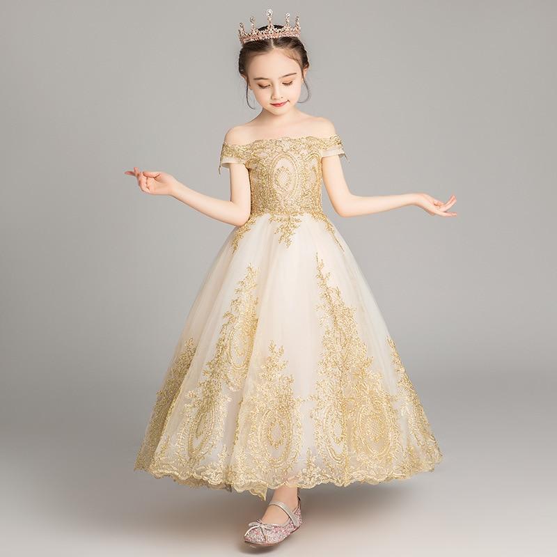 Романтичное свадебное платье подружки невесты с цветочным узором для девочек; Новинка года; длинное кружевное платье с украшением из бисера; праздничное платье с цветочным узором для девочек - Цвет: Golden 2