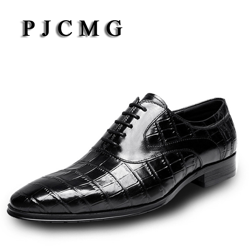 New PJCMG Products Spring/Autumn Fashion Breathable High Quality Genuine Leather Pointed Toe Lace-Up Oxford Dress Shoes For Men new spring autumn women shoes pointed toe high quality brand fashion ol dress womens flats ladies shoes black blue pink gray