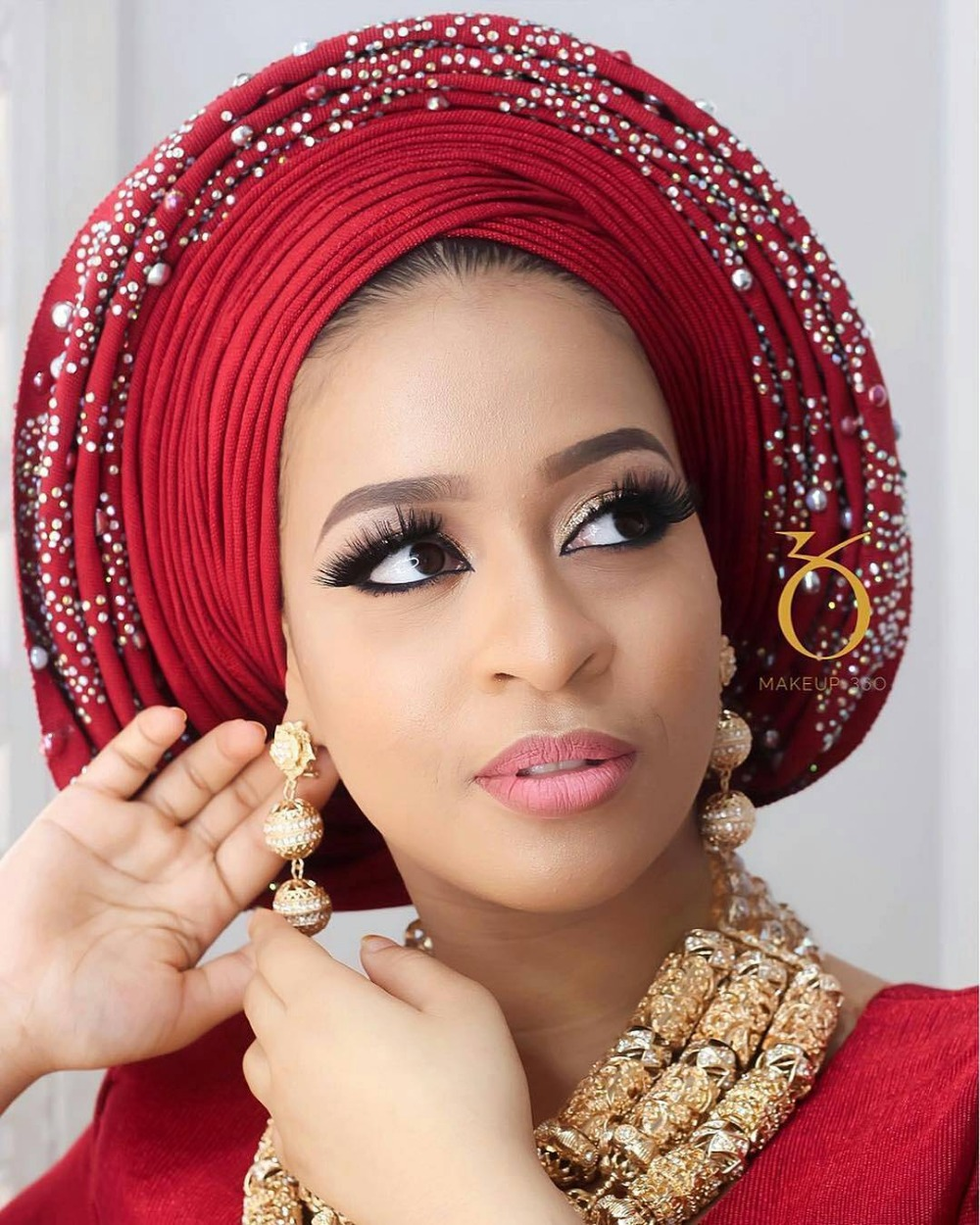 Queency Asooke design African Lady Wedding And Party Auto Gele Already Made Head Wrap Multi Color Beads And Stones DHL Shipping