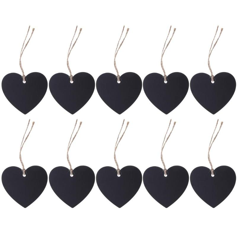 10pcs/lot Heart Shape Mini Blackboard Wooden Hang Tag Pendant Ornaments Messages Notice DIY Party Decoration Supplies
