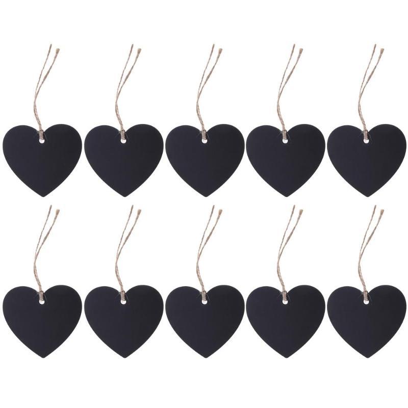 10pcs/lot Heart Shape Mini Blackboard Wooden Hang Tag Pendant Ornaments Messages Notice DIY Party Decoration Supplies