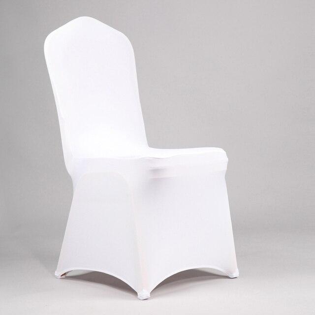 100 Pcs Blanc Polyester Spandex Chaise Pliante Couverture Pour Le Mariage Lycra Stretch Bureau Banquet Chiavari