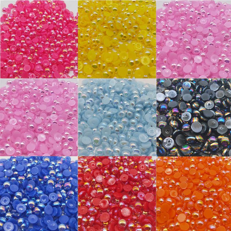 6/8mm Cheap Beads Handicrafts Half Round Flatback Imitation Pearls Bead AB For Jewelry Making Women Nail Art DIY Accessories