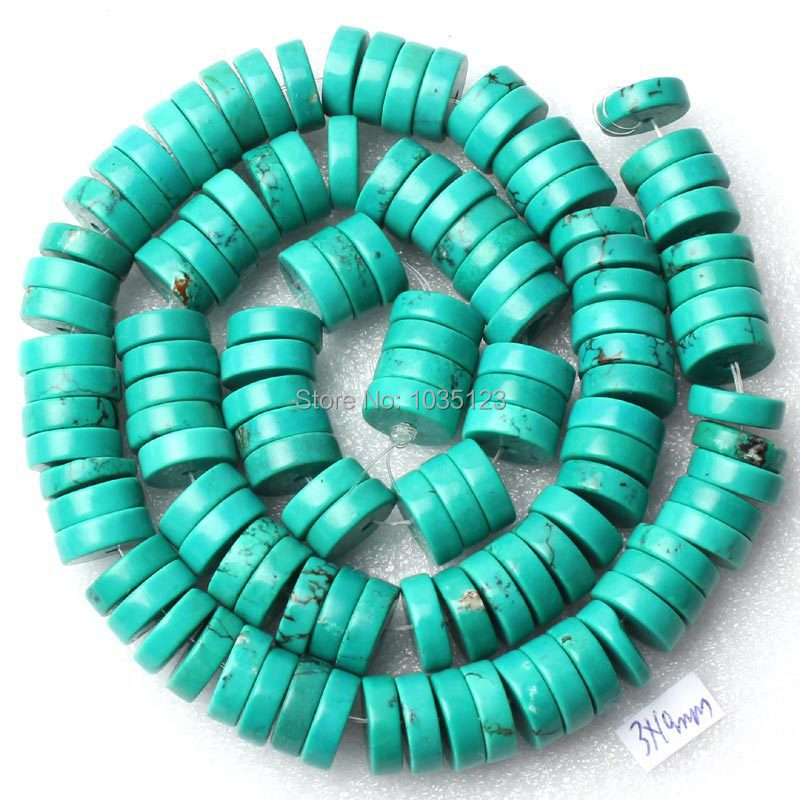 Free Shipping Pretty 3x10mm Coin Rondelle Shape Blue Turquoises Loose Beads Strand 15 DIY Creative Jewellery Making w2095