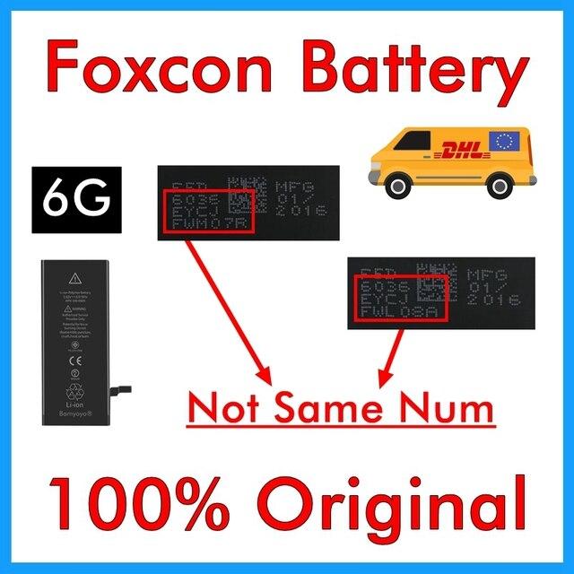 100% original 20 unids/lote foxcon batería para iPhone 6 4.7 6g 1810 mAh 3.82 V calidad genuina 0 ciclo piezas de reparación