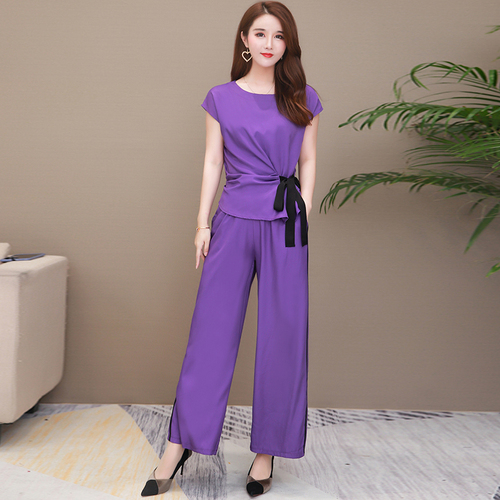 Fashionable Plus Size Two Piece Outfits Leisure Women 2 Piece Set Top And Pants Casual Two Piece Outfits Women's Summer Suit
