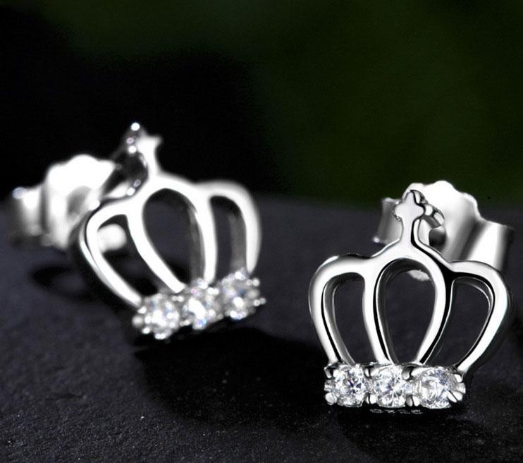 Simple Cross Crown Stud Earrings Princess Girl Ear Jewelry Silver ...