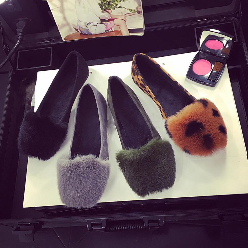 Noir Fourrure gris Appartements Mère Slip Sur De Flop Simples Fluffy kaki Plat Femmes Flip Chaussures Fausse Pantoufle 2018 Fashionladies Curseurs Xiniu SqUvHS