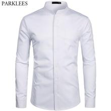 Erkek Hipster Mandarin Yaka Elbise Gömlek 2019 Marka Yenİ Slim Fit Uzun Kollu Chemise Casual Çalışma Busienss Gömlek Erkek beyaz 2XL