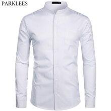 Męska Hipster stójka sukienka koszulki z krótkim rękawem 2019 Brand New Slim Fit z długim rękawem koszulka na co dzień pracy Busienss koszula mężczyzna biały 2XL