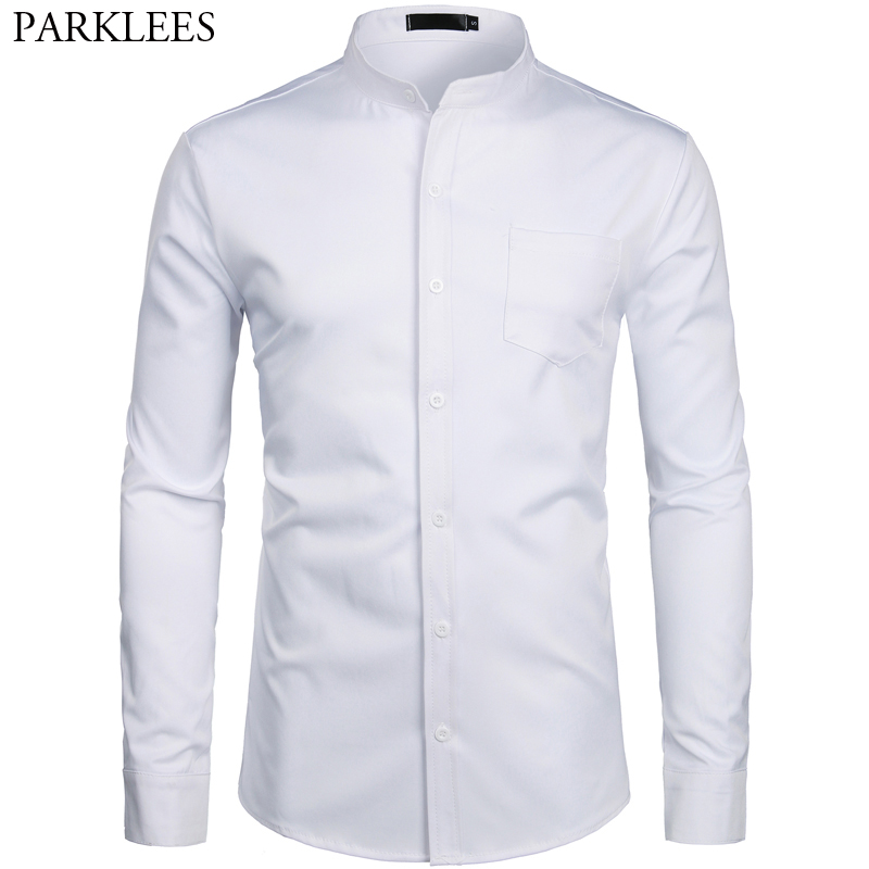 Men's Hipster Mandarin Collar Dress Shirts 2019 Brand New Slim Fit Long Sleeve Chemise Casual Work Busienss Shirt Male White 2XL