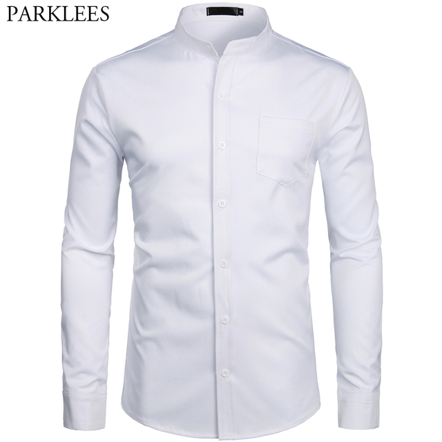 Mens Hipster Mandarin Collar Dress Shirts 2019 Brand New Slim Fit Long Sleeve Chemise Casual Work Busienss Shirt Male White 2XL