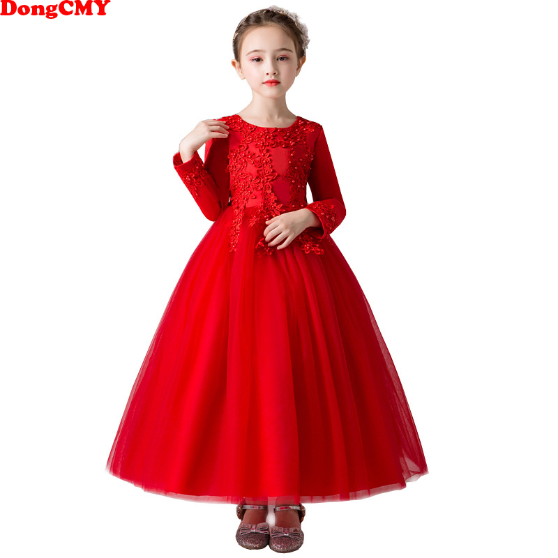 DongCMY 2019 New Elegant   Flower     Girl     Dresses   Beading Kids Clothes Wedding Events Ball Gown