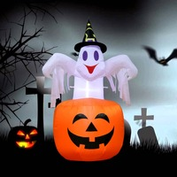 OurWarm Outdoor Inflatable Halloween Decorations Horror Pumpkin Night LED Light Ghost Stand Halloween Party Supplies 142x87cm