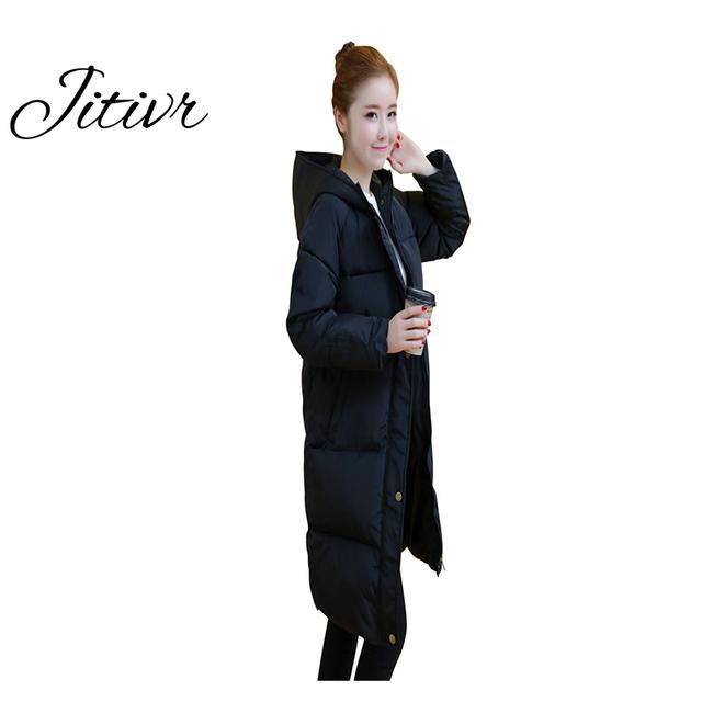 2017 jitivr caliente venta de las mujeres más gruesa capa impermeable en invierno clothing con cottonwarm delgado encapuchado de la chaqueta de moda femenina