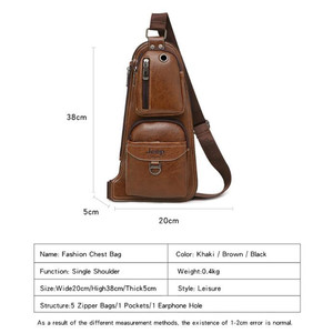Image 4 - JEEP BULUO Brand Men Cross body Bags New Hot Crossbody Shoulder Bag Famous Brand Mans Leather Sling Chest Bags Fashion Casual