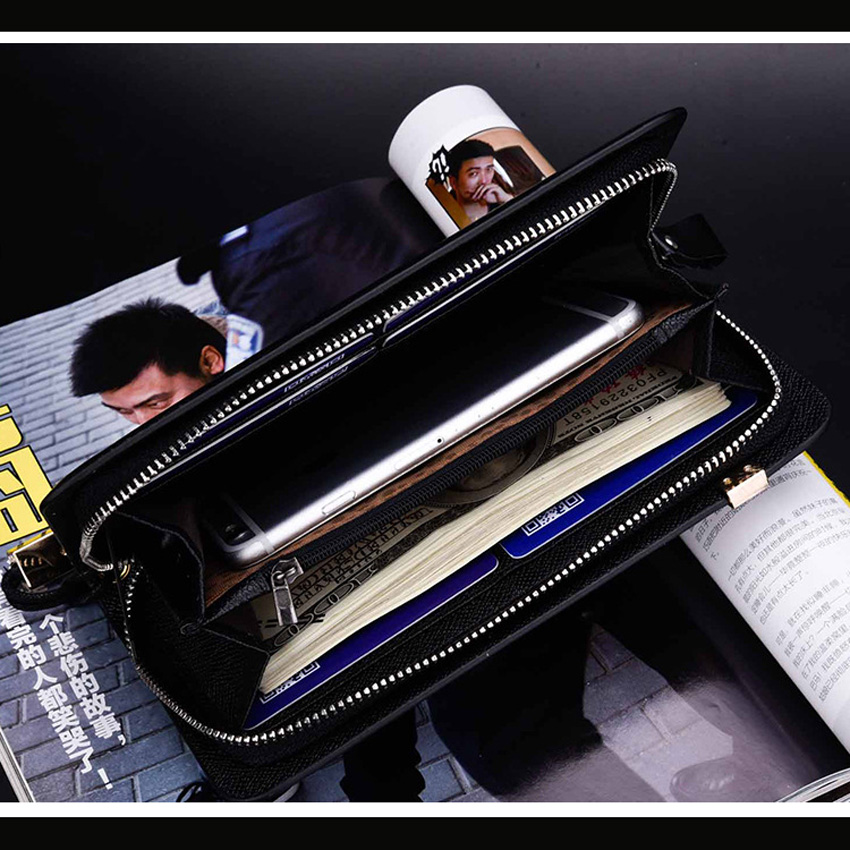 Schwarzes los Geldbörse Lange Brieftaschen Leder Brieftasche Kupplung Männer Teile 120 kaffee Design Casual Marke Berühmte 7qxXw81O