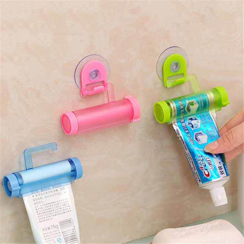 Plastic Rolling Tube Squeezer Toothpaste Dispenser Sucker Holder Dental Cream Bathroom Manual Syringe Gun Dispenser