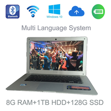 2017 Thunder Speed pc windows 10 system 14 inch laptop Intel Celeron J1900 2.0GHz 8G ram 1TB HDD and 128G SSD built in camera