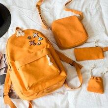 Новый 4 шт./компл. корейские повседневные женские рюкзаки холст книга сумки милые самолет знак школьный для девочек-подростков сумка Mochila