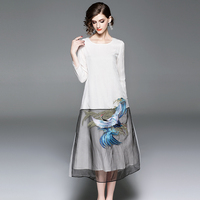 Elegant Chinese Style Embroidery Female Loose Mesh Patchwork White Causal Dresses Organza Women Dress 2018