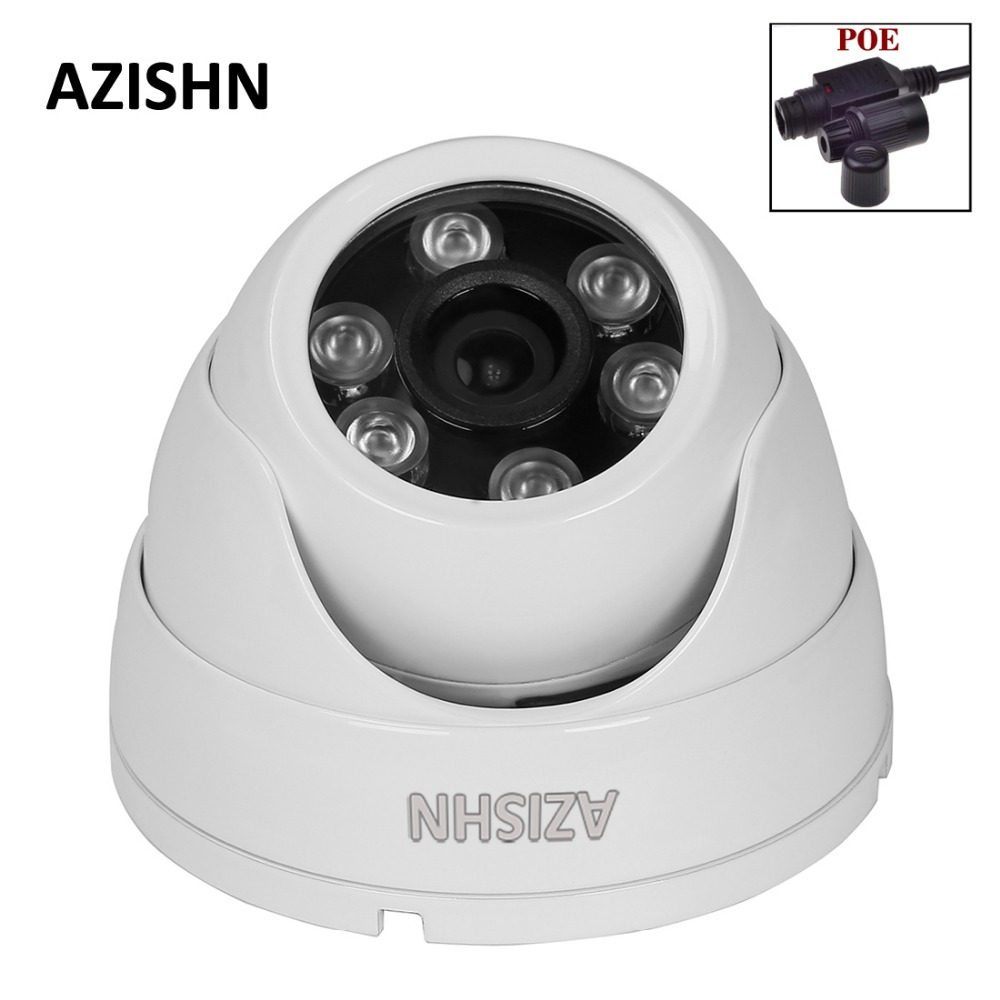 AZISHN 24IR LEDS DOME IP Camera POE 720P/960P/1080P P2P ONVIF Indoor/Outdoor waterproof Metal IP66 Security CCTV Camera with POE outdoor waterproof white metal case 1080p bullet poe ip camera with ir led for day