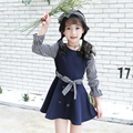 Vestido Para Adolescentes 4 5 6 7 8 9 10 11 12 13 Anos de Primavera Vestidos de Manga Longa Crianças Roupas Listradas Para As Meninas Da Escola desgaste
