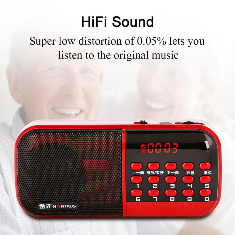 Radio Vbestlife Tragbare Radio 87,5-108 Mhz Mini-radio Ältere Lautsprecher Mp3 Musik-player Unterstützung Tf Karte Lcd Usb Aux 18650 Batterie Rot
