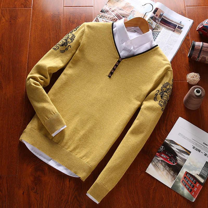 100% כותנה סוודרי Mens סוודרים ארוך שרוול סתיו סוודר מזדמן מוצק סגנון 2019 סתיו למשוך Homme M-3XL סוודרי בגדים