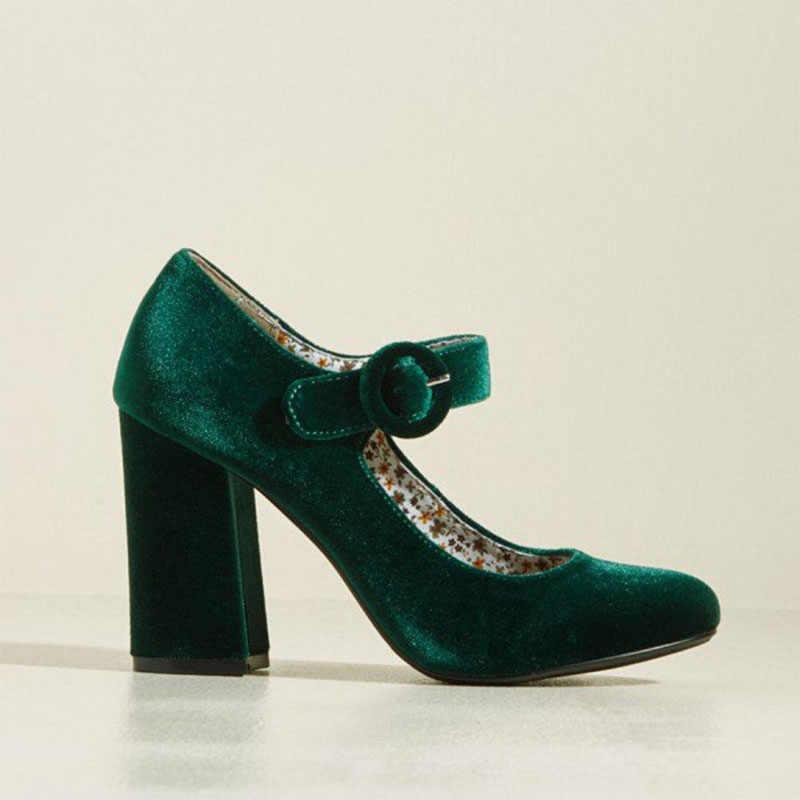 980ef9ddd ... FSJ Women Shoes Ladies Pumps Block 2018 Spring Autumn Green Velvet Mary  Jane Pumps Block Heel ...