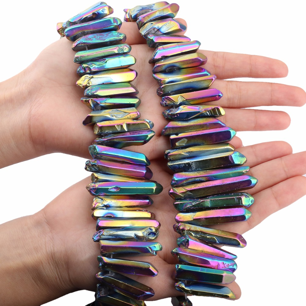 Natural Rough Polished Quartz Crystals Points Titanium Coated Sticks Spikes Irregular Top Drilled Loose Beads 15 39 39 Strand in Beads from Jewelry amp Accessories