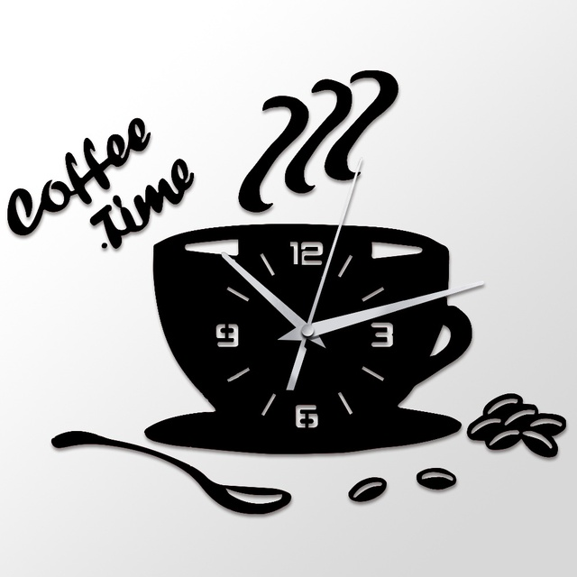 3d diy acrylic wall clock modern kitchen home decor coffee time
