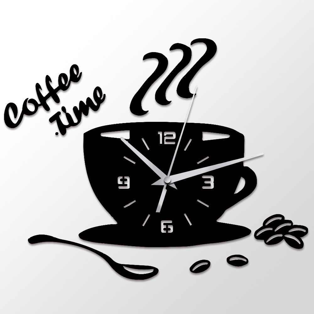 3D DIY акриловые настенные часы современный Кухня домашний декор, кофейный время часы чашки Форма стены Стикеры полые цифровые часы