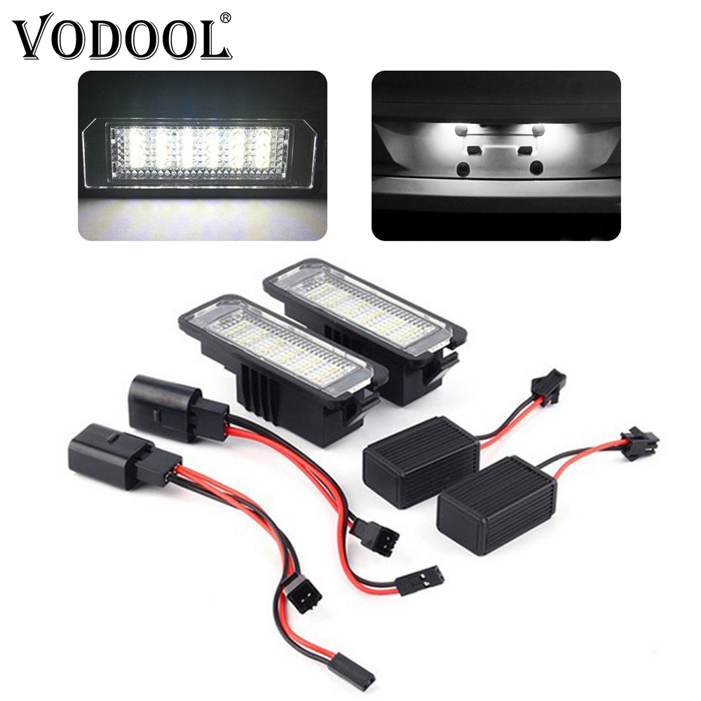 VODOOL 2Pcs 12V 3W 6000K LED Car Number License Plate Light Exterior Accessories Signal Lamp For VW Golf 4 5 6 7 Polo 6R Passat