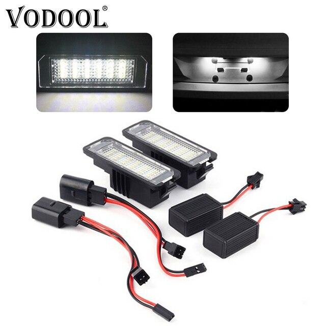 VODOOL 2Pcs 12V 3W 6000K LED Car Number License Plate Light Exterior Accessories Signal Lamp For VW Golf 4 5 6 7 Polo 6R Passat