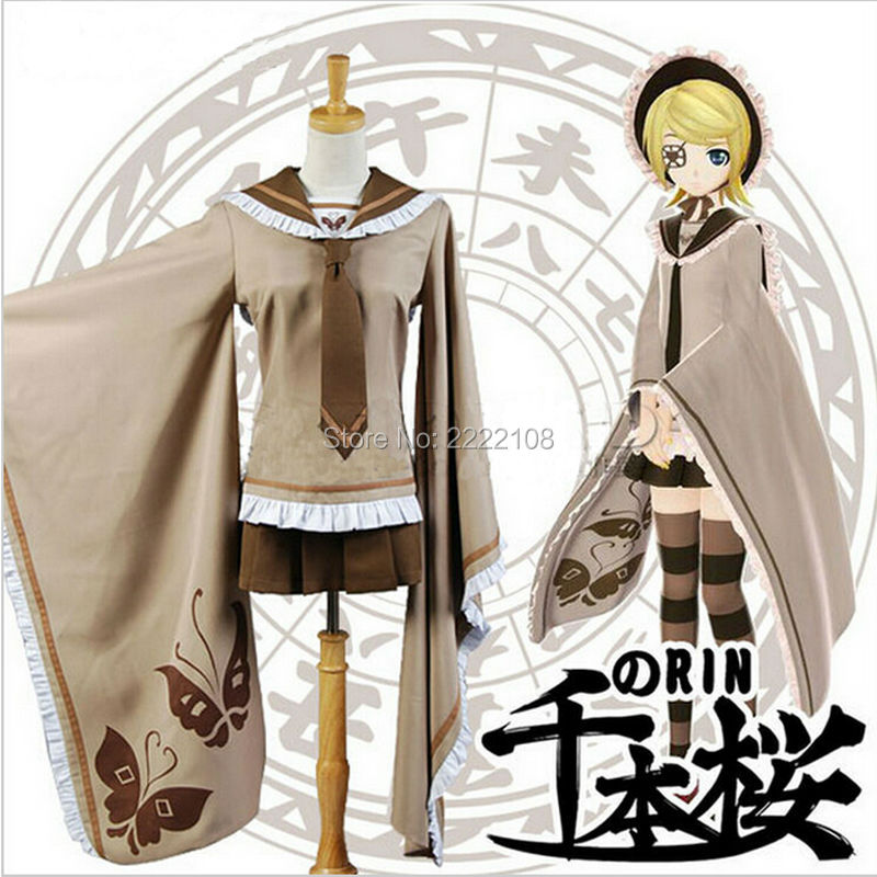 New Senbonzakura Vocaloid Kagamine RIN Cosplay Costume Cosplay Kimono Uniform Hot Sale Cheap Role Playing Clothes Free Shipping