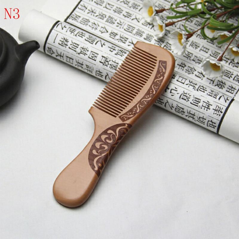 Image 5 - 1 pçs pente antiestático pêssego natural pente de madeira maciça  gravado pêssego massagem saudável ferramenta de cuidados com o cabelo  acessórios de belezaPentes