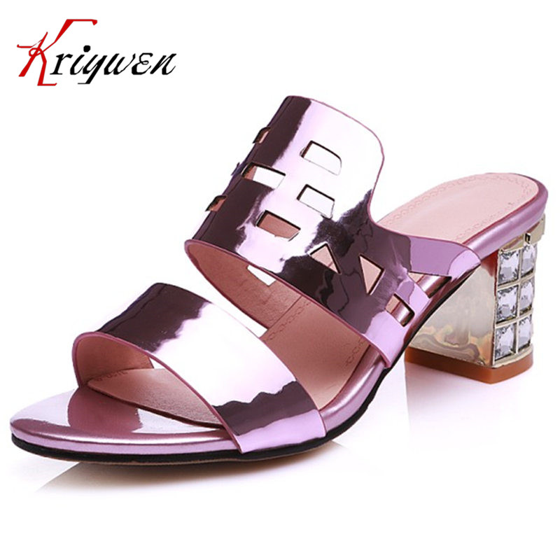 Summer  sexy Women Sandals luxury rhinestone party slippers Open toe crystal high heels slides cowhide leather party Flip flops mnixuan women slippers sandals summer